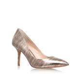 Salest - predominant colour: gold; occasions: evening, occasion; material: leather; heel height: high; heel: stiletto; toe: pointed toe; style: courts; finish: plain; pattern: patterned/print; season: a/w 2016