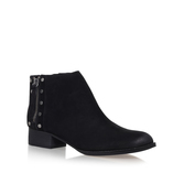 Catile - predominant colour: black; occasions: casual, creative work; material: suede; heel height: flat; heel: block; toe: round toe; boot length: ankle boot; style: standard; finish: plain; pattern: plain; season: a/w 2016