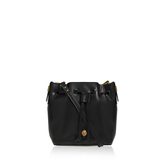 Nina Drawstring Sm - predominant colour: black; occasions: casual; type of pattern: standard; style: shoulder; length: shoulder (tucks under arm); size: small; material: leather; pattern: plain; finish: plain; wardrobe: investment; season: a/w 2016
