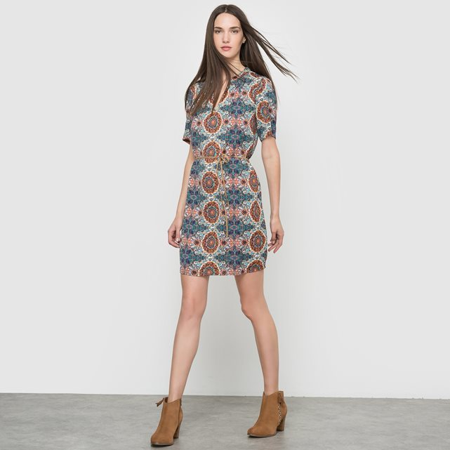 Short Sleeved Dress - style: shift; predominant colour: denim; secondary colour: tan; occasions: casual; length: just above the knee; fit: body skimming; fibres: polyester/polyamide - 100%; neckline: crew; sleeve length: short sleeve; sleeve style: standard; pattern type: fabric; pattern: patterned/print; texture group: other - light to midweight; multicoloured: multicoloured; season: a/w 2016; wardrobe: highlight