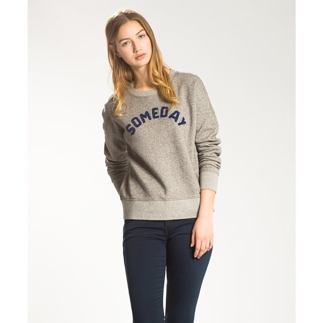 Long Sleeved Crew Neck Sweatshirt - neckline: round neck; style: sweat top; secondary colour: navy; predominant colour: stone; occasions: casual; length: standard; fibres: cotton - stretch; fit: body skimming; sleeve length: long sleeve; sleeve style: standard; pattern type: fabric; pattern size: standard; texture group: jersey - stretchy/drapey; pattern: graphic/slogan; season: a/w 2016; wardrobe: highlight