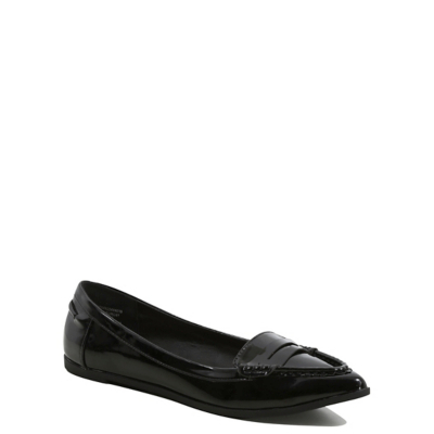 Pointed Toe Patent Loafers Black - predominant colour: black; occasions: casual, work, creative work; material: faux leather; heel height: flat; toe: pointed toe; style: ballerinas / pumps; finish: plain; pattern: plain; wardrobe: basic; season: a/w 2016