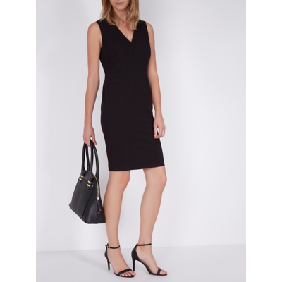 V Neck Dress Black - neckline: v-neck; fit: tight; pattern: plain; sleeve style: sleeveless; style: bodycon; predominant colour: black; occasions: evening; length: just above the knee; fibres: polyester/polyamide - stretch; sleeve length: sleeveless; texture group: jersey - clingy; pattern type: fabric; season: a/w 2016; wardrobe: event