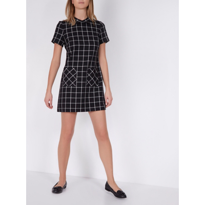 Check Print Collared Dress Black - style: shift; length: mid thigh; pattern: checked/gingham; secondary colour: light grey; predominant colour: black; occasions: casual; fit: body skimming; neckline: collarstand; fibres: polyester/polyamide - mix; sleeve length: short sleeve; sleeve style: standard; trends: monochrome; pattern type: fabric; texture group: woven light midweight; multicoloured: multicoloured; season: a/w 2016