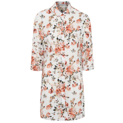 Floral Print Longline Blouse Cream - neckline: shirt collar/peter pan/zip with opening; length: below the bottom; style: blouse; predominant colour: ivory/cream; secondary colour: coral; occasions: casual; fibres: polyester/polyamide - 100%; fit: body skimming; sleeve length: 3/4 length; sleeve style: standard; pattern type: fabric; pattern size: light/subtle; pattern: florals; texture group: other - light to midweight; multicoloured: multicoloured; season: a/w 2016; wardrobe: highlight