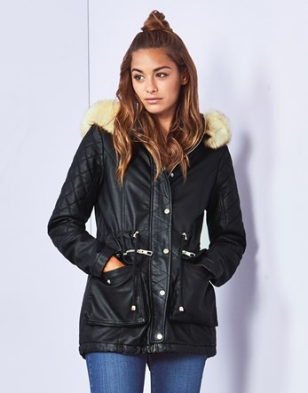 Faux Leather Parka - pattern: plain; length: below the bottom; collar: funnel; fit: loose; style: parka; predominant colour: black; occasions: casual; waist detail: belted waist/tie at waist/drawstring; sleeve length: long sleeve; sleeve style: standard; texture group: technical outdoor fabrics; collar break: high; pattern type: fabric; embellishment: quilted; fibres: pvc/polyurethene - mix; season: a/w 2016; wardrobe: highlight