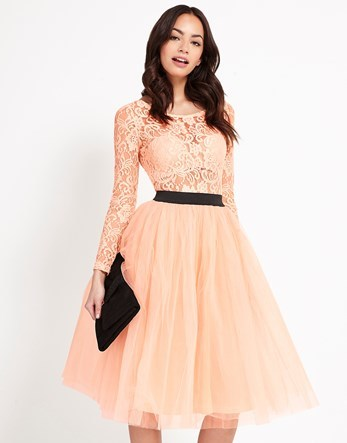 Long Sleeve Lace Tutu Midi Dress - length: below the knee; neckline: round neck; pattern: plain; style: prom dress; waist detail: belted waist/tie at waist/drawstring; predominant colour: blush; secondary colour: black; occasions: evening; fit: fitted at waist & bust; fibres: polyester/polyamide - mix; hip detail: soft pleats at hip/draping at hip/flared at hip; sleeve length: long sleeve; sleeve style: standard; texture group: lace; pattern type: fabric; pattern size: standard; season: a/w 2016
