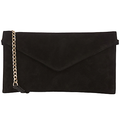 Suede Jess Envelope Clutch Bag - predominant colour: black; occasions: evening, occasion; type of pattern: standard; style: shoulder; length: hand carry; size: standard; material: suede; pattern: plain; finish: plain; embellishment: chain/metal; season: a/w 2016; wardrobe: event