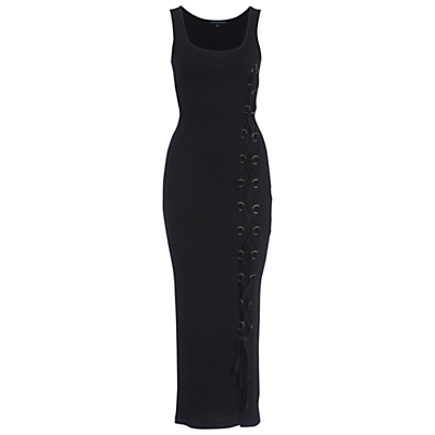 Tommy Ribbed Sleeveless Maxi Dress, Black - neckline: round neck; fit: tight; pattern: plain; sleeve style: sleeveless; style: maxi dress; length: ankle length; predominant colour: black; occasions: evening; fibres: cotton - mix; sleeve length: sleeveless; texture group: jersey - clingy; pattern type: fabric; season: a/w 2016; wardrobe: event