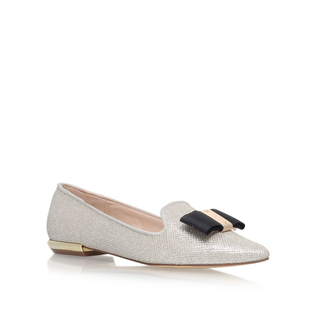 Major Low Heel Slip On Loafers, Gold - predominant colour: light grey; secondary colour: black; occasions: casual, creative work; material: faux leather; heel height: flat; toe: pointed toe; style: ballerinas / pumps; finish: plain; pattern: colourblock; embellishment: bow; season: a/w 2016