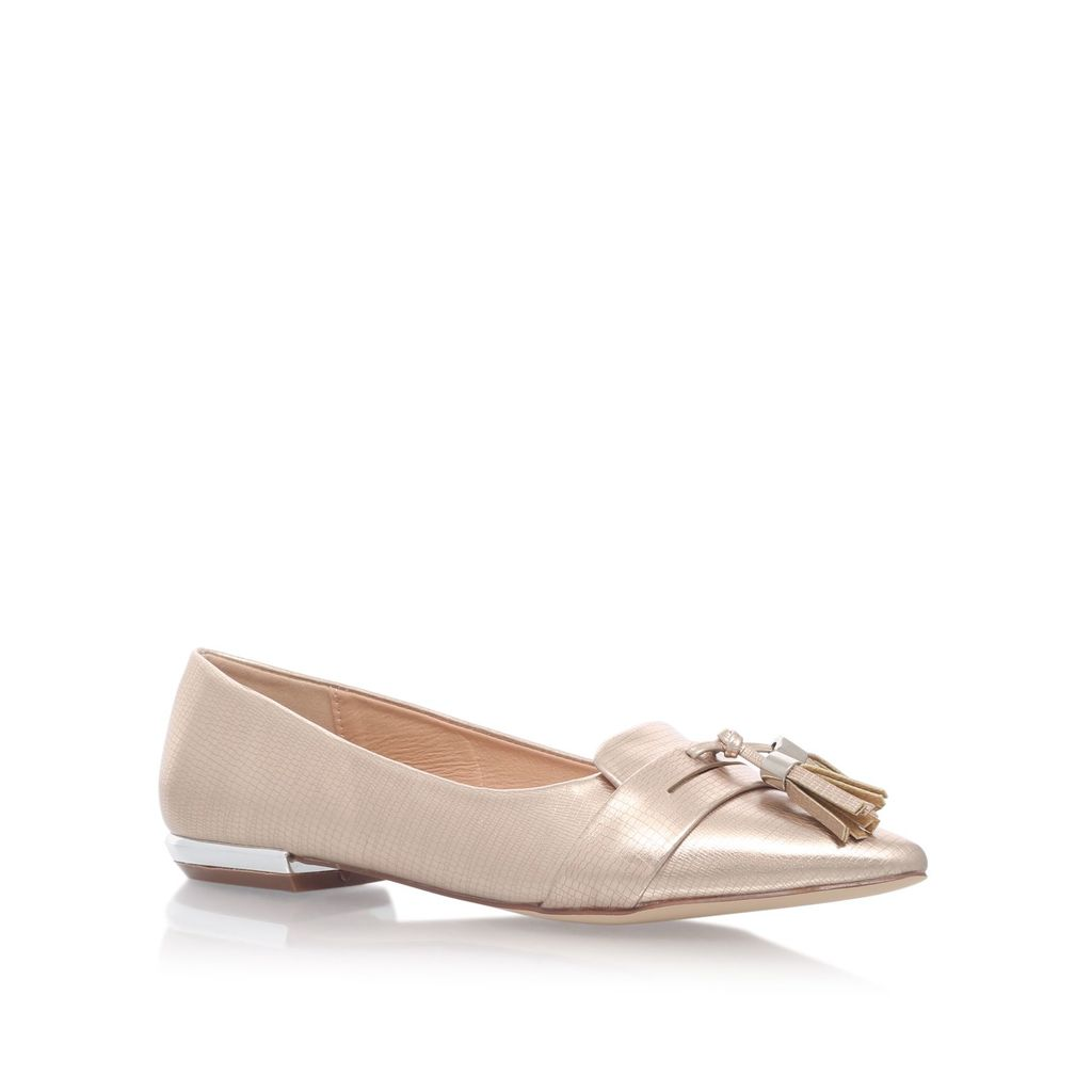 Nikki Flat Slip On Loafers, Silver - predominant colour: silver; occasions: casual, creative work; material: faux leather; heel height: flat; embellishment: tassels; toe: pointed toe; style: ballerinas / pumps; finish: metallic; pattern: plain; wardrobe: basic; season: a/w 2016
