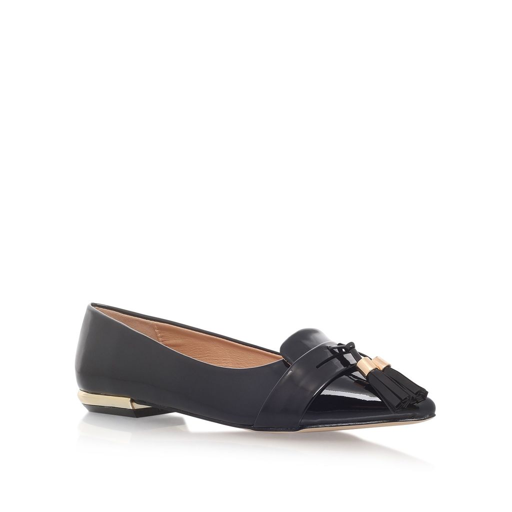Nikki Flat Slip On Loafers, Black - predominant colour: black; occasions: casual, creative work; material: faux leather; heel height: flat; embellishment: tassels; toe: pointed toe; style: ballerinas / pumps; finish: plain; pattern: plain; wardrobe: basic; season: a/w 2016