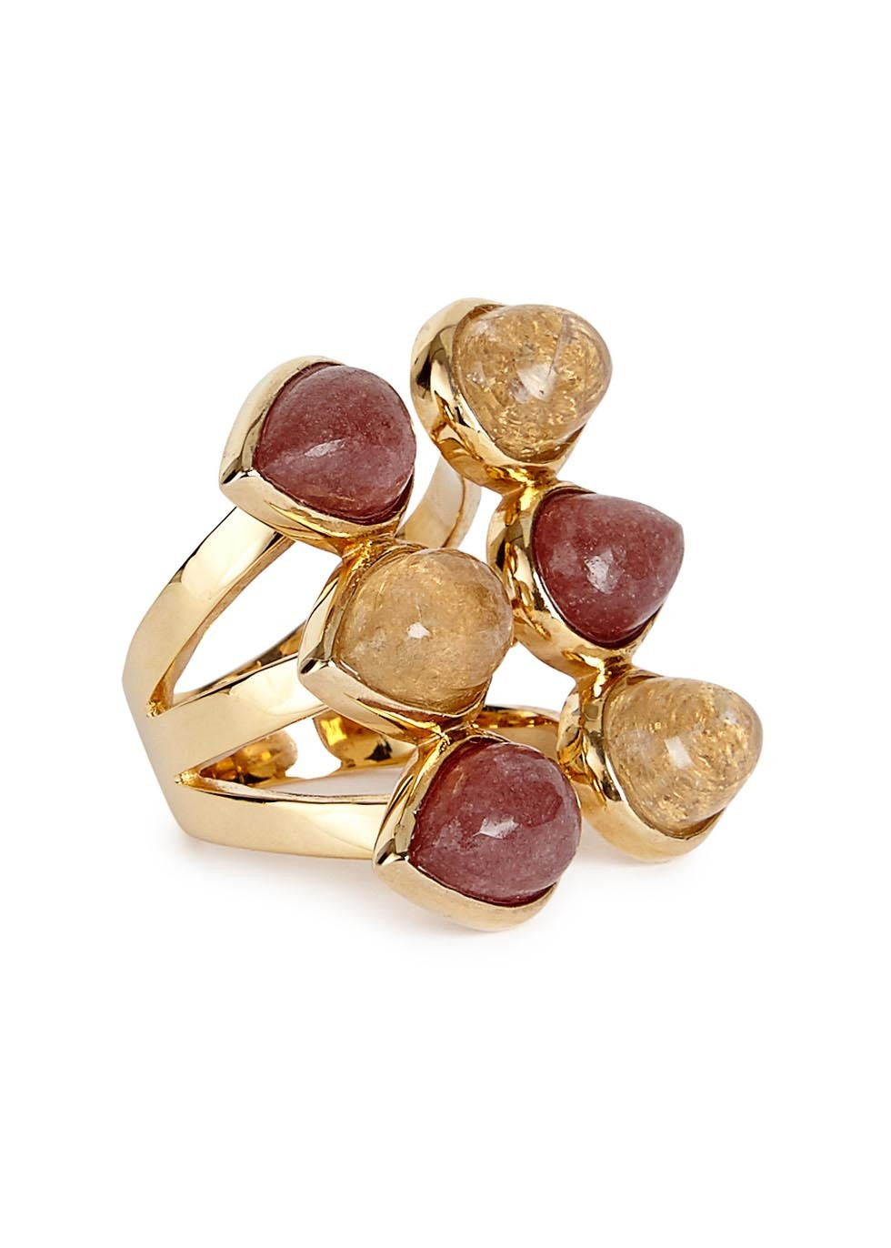 Temple Muse Gold Plated Quartz Ring - predominant colour: gold; occasions: evening, occasion; style: cocktail; size: large/oversized; material: chain/metal; finish: metallic; embellishment: jewels/stone; multicoloured: multicoloured; season: a/w 2016; wardrobe: event