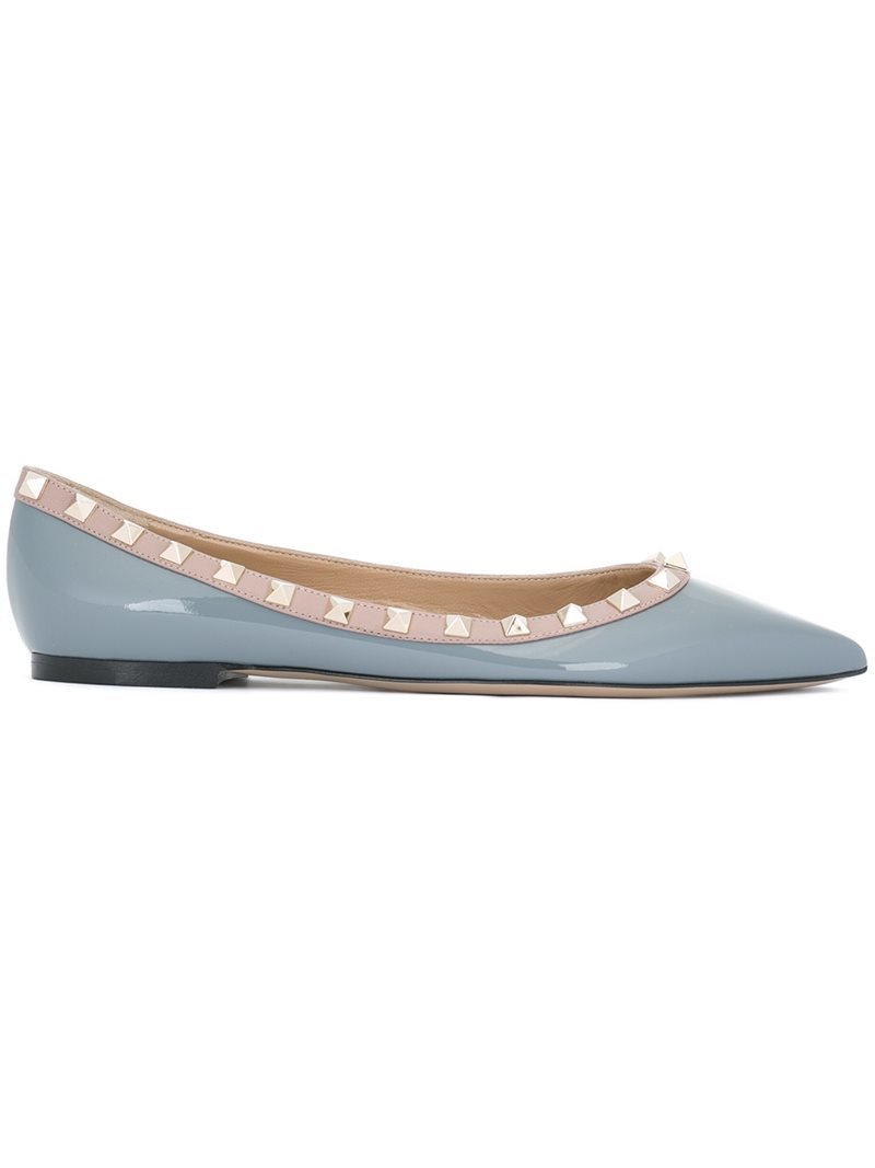 'rockstud' Ballerinas, Women's, Size: 39, Grey - secondary colour: nude; predominant colour: light grey; occasions: casual, creative work; material: leather; heel height: flat; embellishment: studs; toe: pointed toe; style: ballerinas / pumps; finish: plain; pattern: colourblock; season: a/w 2016; wardrobe: highlight