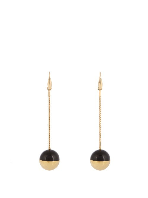 Piece On Earth Single Drop Bauble Earrings - predominant colour: gold; secondary colour: black; occasions: evening; style: drop; length: extra long; size: standard; material: chain/metal; fastening: pierced; finish: metallic; multicoloured: multicoloured; season: a/w 2016; wardrobe: event