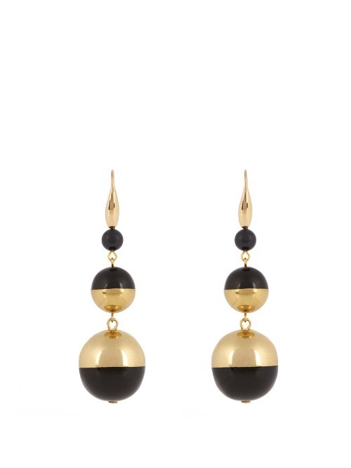 Piece On Earth Triple Drop Bauble Earrings - predominant colour: gold; secondary colour: black; occasions: evening; style: drop; length: long; size: large/oversized; material: chain/metal; fastening: pierced; finish: metallic; multicoloured: multicoloured; season: a/w 2016; wardrobe: event