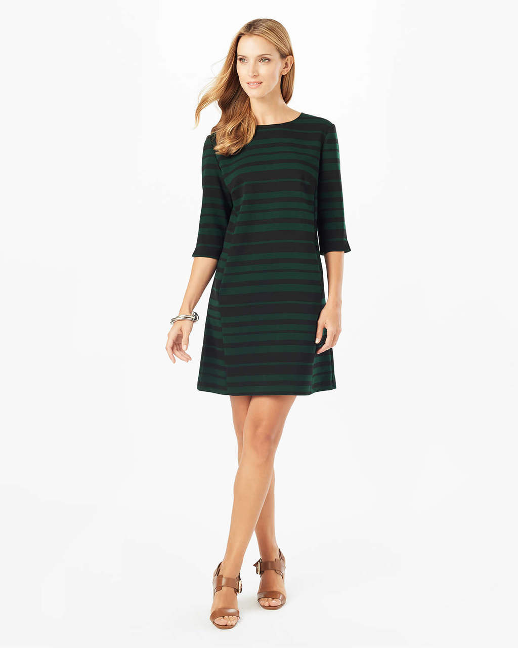 Sabrina Stripe Tunic Dress - style: tunic; pattern: horizontal stripes; secondary colour: dark green; predominant colour: black; occasions: evening; length: just above the knee; fit: body skimming; fibres: polyester/polyamide - stretch; neckline: crew; sleeve length: 3/4 length; sleeve style: standard; pattern type: fabric; texture group: jersey - stretchy/drapey; multicoloured: multicoloured; season: a/w 2016; wardrobe: event
