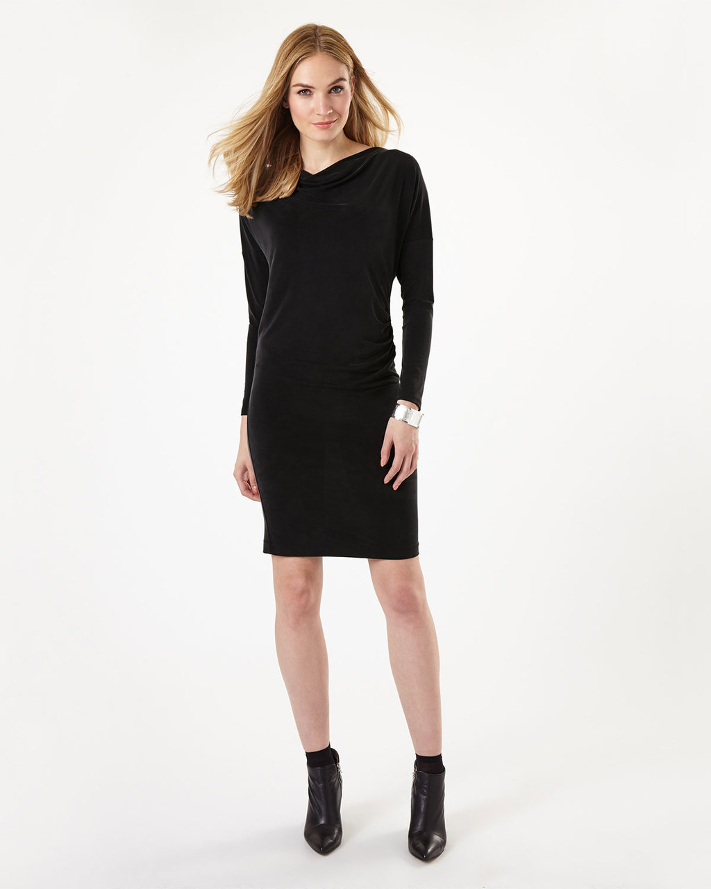 Cia Cupro Dress - style: shift; neckline: cowl/draped neck; pattern: plain; predominant colour: black; occasions: evening; length: just above the knee; fit: body skimming; fibres: cotton - stretch; sleeve length: long sleeve; sleeve style: standard; pattern type: fabric; texture group: jersey - stretchy/drapey; season: a/w 2016; wardrobe: event