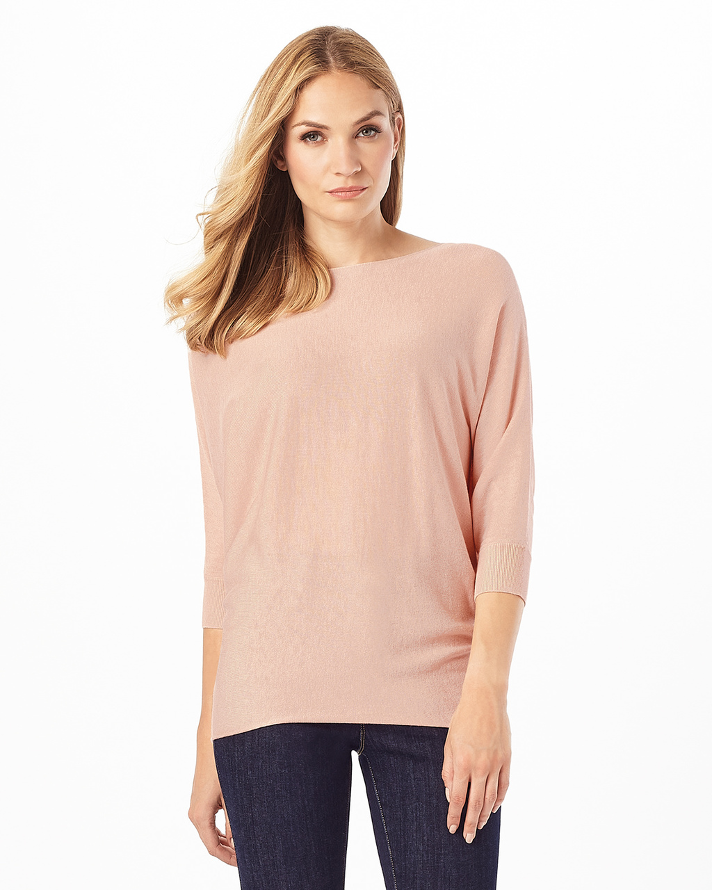 Becca Batwing Jumper - neckline: slash/boat neckline; sleeve style: dolman/batwing; pattern: plain; style: standard; predominant colour: blush; occasions: casual, creative work; length: standard; fibres: cotton - mix; fit: standard fit; sleeve length: 3/4 length; texture group: knits/crochet; pattern type: knitted - fine stitch; wardrobe: basic; season: a/w 2016