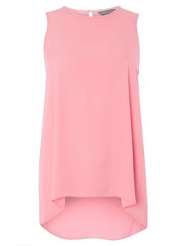 Womens Pink Built Up Back Tee Pink - neckline: round neck; pattern: plain; sleeve style: sleeveless; length: below the bottom; style: t-shirt; predominant colour: pink; occasions: work, creative work; fibres: polyester/polyamide - 100%; fit: loose; hip detail: adds bulk at the hips; back detail: longer hem at back than at front; sleeve length: sleeveless; texture group: sheer fabrics/chiffon/organza etc.; pattern type: fabric; season: a/w 2016; wardrobe: highlight