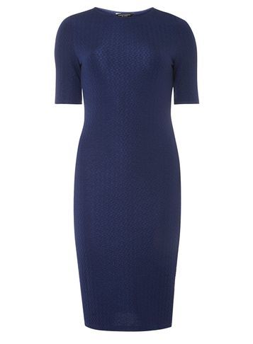 Womens Animal Textured Bodycon Dress Blue - fit: tight; pattern: plain; style: bodycon; predominant colour: navy; occasions: evening; length: on the knee; fibres: polyester/polyamide - stretch; neckline: crew; sleeve length: short sleeve; sleeve style: standard; texture group: jersey - clingy; pattern type: fabric; season: a/w 2016; wardrobe: event