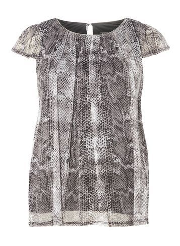 Womens **Billie & Blossom Silver Snake Printed Shell Top Grey - secondary colour: white; predominant colour: silver; occasions: evening; length: standard; style: top; fit: body skimming; neckline: crew; sleeve length: short sleeve; sleeve style: standard; texture group: sheer fabrics/chiffon/organza etc.; pattern type: fabric; pattern size: standard; pattern: animal print; fibres: nylon - stretch; multicoloured: multicoloured; season: a/w 2016; wardrobe: event