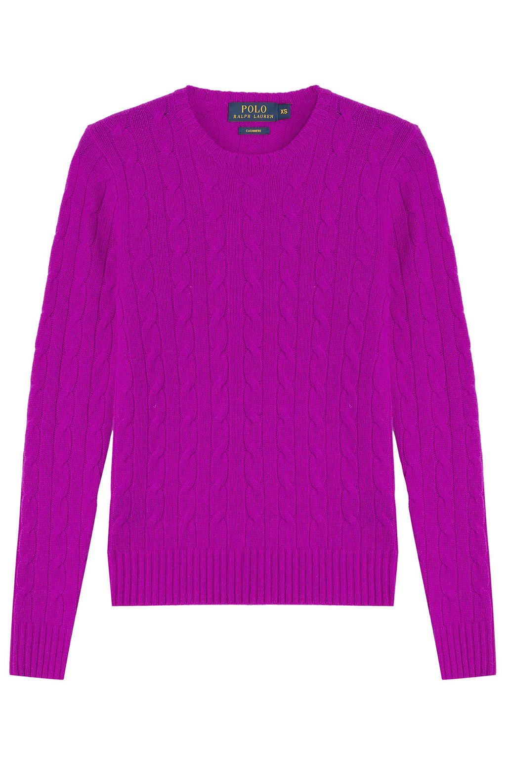 Cashmere Cable Knit Pullover None - style: standard; pattern: cable knit; predominant colour: purple; occasions: casual; length: standard; fit: slim fit; neckline: crew; fibres: cashmere - 100%; sleeve length: long sleeve; sleeve style: standard; texture group: knits/crochet; pattern type: fabric; season: a/w 2015; wardrobe: highlight