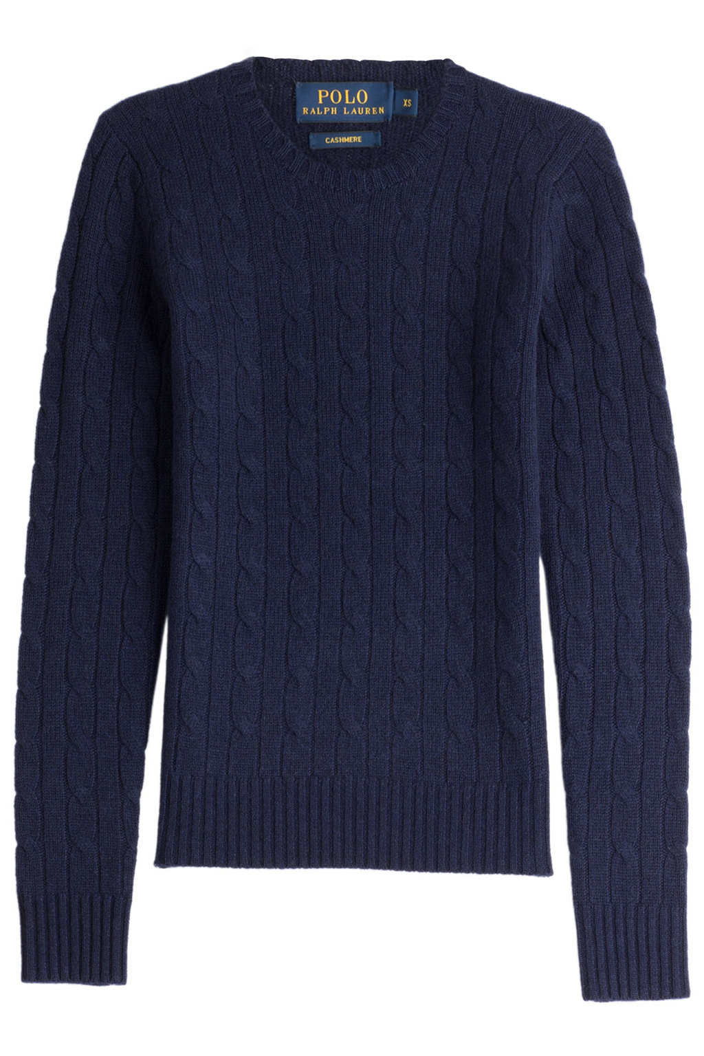 Cashmere Cable Knit Pullover Blue - style: standard; pattern: cable knit; predominant colour: navy; occasions: casual; length: standard; fit: slim fit; neckline: crew; fibres: cashmere - 100%; sleeve length: long sleeve; sleeve style: standard; texture group: knits/crochet; bust detail: bulky details at bust; pattern type: fabric; season: s/s 2016; wardrobe: highlight