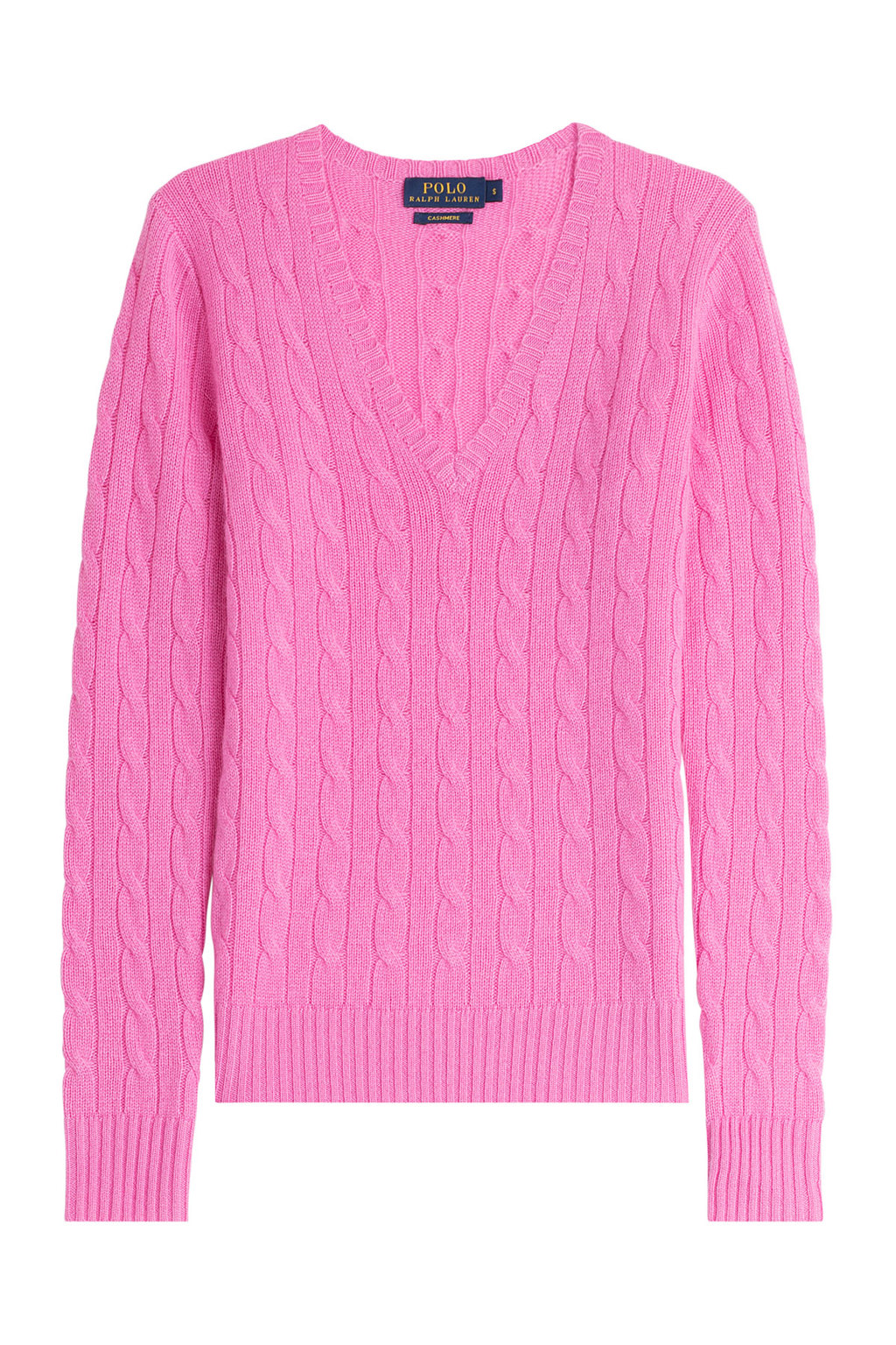 Cashmere Cable Knit Pullover - neckline: low v-neck; style: standard; pattern: cable knit; predominant colour: pink; occasions: casual; length: standard; fit: standard fit; fibres: cashmere - 100%; sleeve length: long sleeve; sleeve style: standard; texture group: knits/crochet; bust detail: bulky details at bust; pattern type: knitted - other; season: s/s 2015; wardrobe: highlight