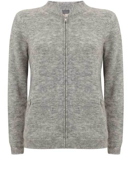 Silver Grey Fluffy Bomber Knit Cardigan - neckline: high neck; predominant colour: mid grey; occasions: casual; length: standard; style: standard; fibres: cotton - mix; fit: standard fit; sleeve length: long sleeve; sleeve style: standard; texture group: knits/crochet; pattern type: knitted - fine stitch; pattern size: light/subtle; pattern: marl; wardrobe: basic; season: a/w 2016