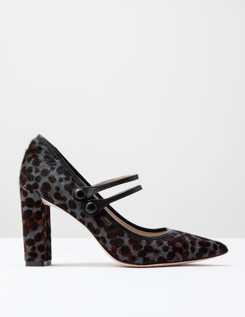 Point Mary Jane Khaki Leopard Pony/Black Women, Khaki Leopard Pony/Black - predominant colour: mid grey; secondary colour: black; occasions: evening; material: leather; heel height: high; ankle detail: ankle strap; heel: block; toe: pointed toe; style: courts; finish: plain; pattern: animal print; multicoloured: multicoloured; season: a/w 2016; wardrobe: event