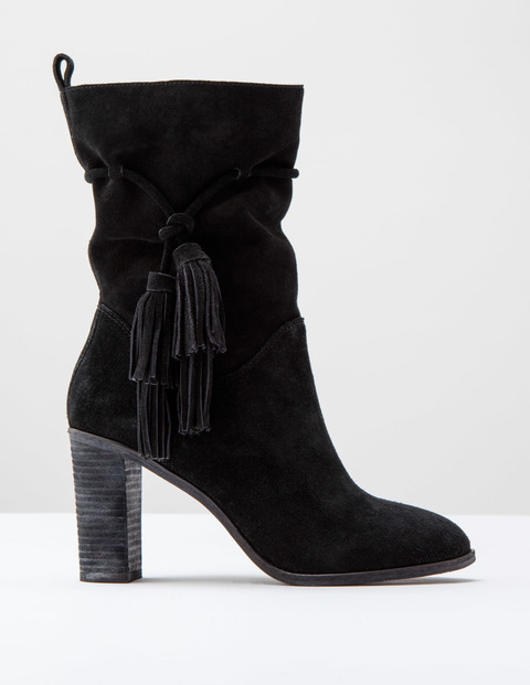 Slouchy Tassel Boot Black Suede Women, Black Suede - predominant colour: black; occasions: casual, creative work; material: suede; heel height: high; embellishment: tassels; heel: block; toe: round toe; boot length: mid calf; style: standard; finish: plain; pattern: plain; season: a/w 2016; wardrobe: highlight