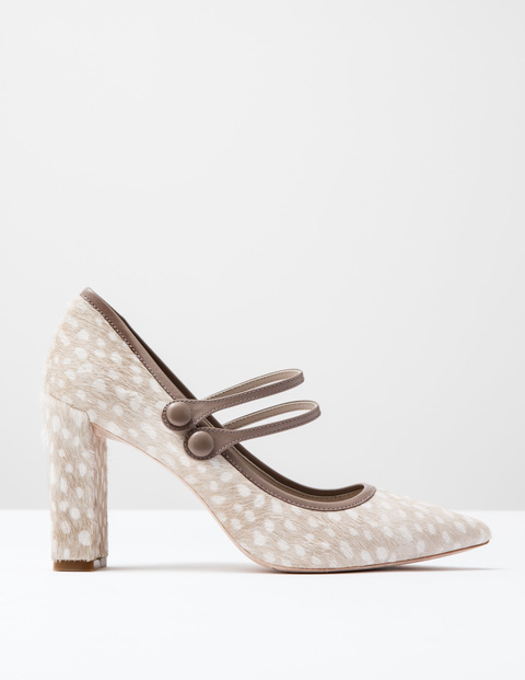 Point Mary Jane Ivory Spot Pony/Nutmeg Women, Ivory Spot Pony/Nutmeg - secondary colour: ivory/cream; predominant colour: taupe; occasions: evening, occasion, creative work; material: animal skin; embellishment: buckles; heel: block; toe: pointed toe; style: mary janes; finish: plain; pattern: animal print; heel height: very high; season: a/w 2016; wardrobe: highlight