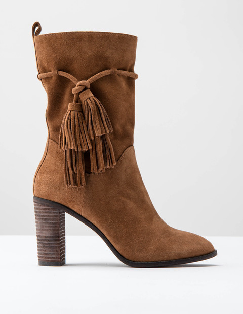 Slouchy Tassel Boot Tan Suede Women, Tan Suede - predominant colour: tan; occasions: casual; material: suede; heel height: high; embellishment: tassels; heel: block; toe: pointed toe; boot length: mid calf; style: standard; finish: plain; pattern: plain; season: a/w 2016; wardrobe: highlight