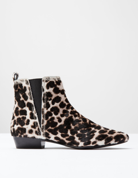 Mollie Boot Snow Leopard Pony Women, Snow Leopard Pony - predominant colour: ivory/cream; secondary colour: black; occasions: casual; material: animal skin; heel height: mid; heel: block; toe: pointed toe; boot length: ankle boot; style: standard; finish: plain; pattern: animal print; multicoloured: multicoloured; season: a/w 2016; wardrobe: highlight