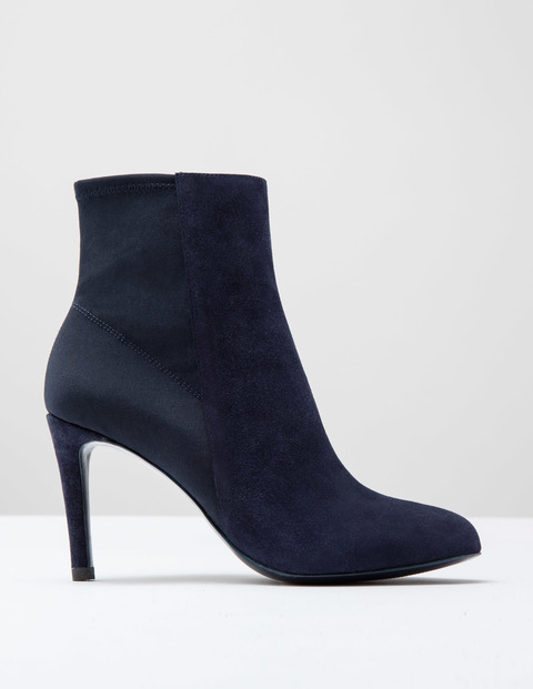 Suede Stretch Ankle Boot Navy Suede Women, Navy Suede - predominant colour: navy; occasions: casual, creative work; material: suede; heel: standard; toe: round toe; boot length: ankle boot; style: standard; finish: plain; pattern: plain; heel height: very high; season: a/w 2016; wardrobe: highlight