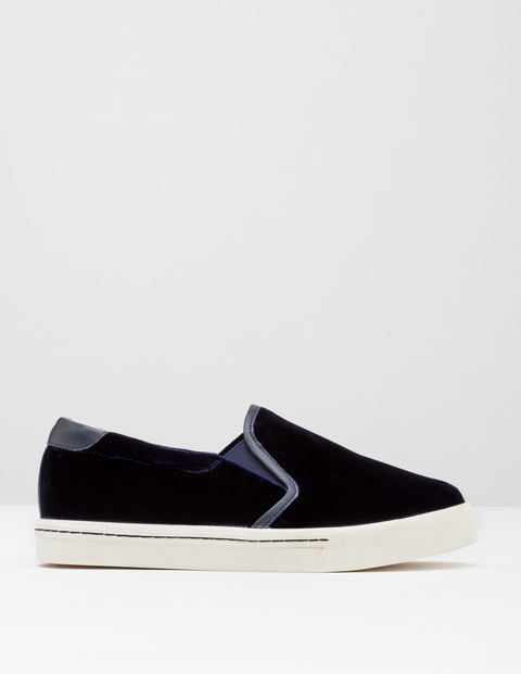 Slip On Trainer Navy Velvet Women, Navy Velvet - predominant colour: navy; occasions: casual; material: velvet; heel height: flat; toe: round toe; finish: plain; pattern: plain; style: skate shoes; wardrobe: basic; season: a/w 2016