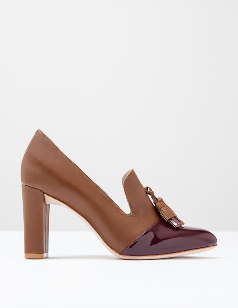 Lottie Tassel Heel Dark Burgundy Patent/Tan Women, Dark Burgundy Patent/Tan - predominant colour: tan; occasions: work, creative work; material: faux leather; heel height: high; embellishment: tassels; heel: block; toe: round toe; style: courts; finish: patent; pattern: plain; season: a/w 2016