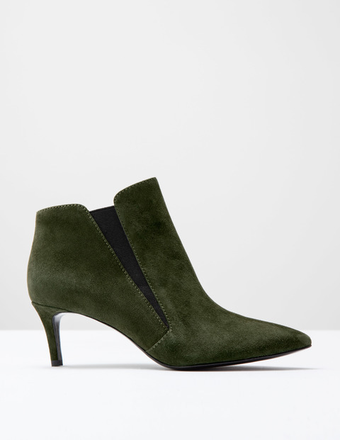 Alice Mid Heel Boot Military Green Suede Women, Military Green Suede - predominant colour: dark green; occasions: casual, creative work; material: suede; heel height: mid; heel: stiletto; toe: pointed toe; boot length: ankle boot; style: standard; finish: plain; pattern: plain; season: a/w 2016; wardrobe: highlight
