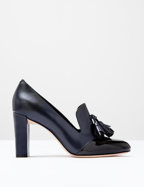 Lottie Tassel Heel Black Patent/Navy Women, Black Patent/Navy - predominant colour: black; occasions: work, creative work; material: faux leather; embellishment: tassels; heel: block; toe: round toe; style: courts; finish: patent; pattern: plain; heel height: very high; season: a/w 2016; wardrobe: highlight