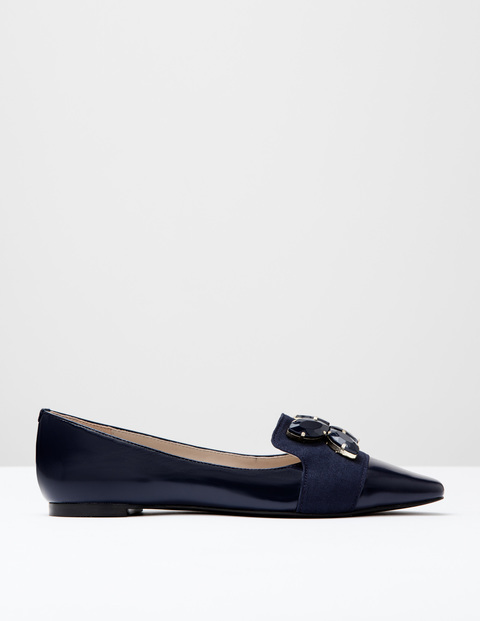Wow Jewelled Flats Navy Box Shine Women, Navy Box Shine - predominant colour: navy; occasions: casual, creative work; material: suede; heel height: flat; embellishment: jewels/stone; toe: pointed toe; style: ballerinas / pumps; finish: plain; pattern: plain; season: a/w 2016