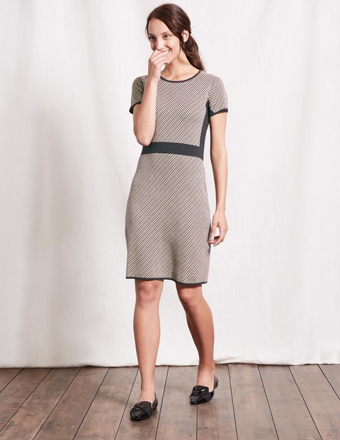 Zoe Knitted Dress Brown Jacquard Women, Brown Jacquard - style: shift; neckline: round neck; secondary colour: ivory/cream; predominant colour: charcoal; occasions: casual, creative work; length: just above the knee; fit: body skimming; fibres: cotton - stretch; sleeve length: short sleeve; sleeve style: standard; texture group: knits/crochet; pattern type: knitted - other; pattern size: standard; pattern: patterned/print; season: a/w 2016; wardrobe: highlight