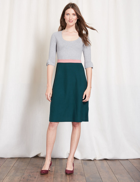 Juliette Knitted Dress Grey Melange/Emerald Night Women, Grey Melange/Emerald Night - waist detail: embellishment at waist/feature waistband; predominant colour: teal; secondary colour: light grey; occasions: casual, creative work; length: on the knee; fit: fitted at waist & bust; style: fit & flare; neckline: scoop; fibres: cotton - mix; sleeve length: 3/4 length; sleeve style: standard; texture group: knits/crochet; pattern type: knitted - fine stitch; pattern size: standard; pattern: colourblock; season: a/w 2016