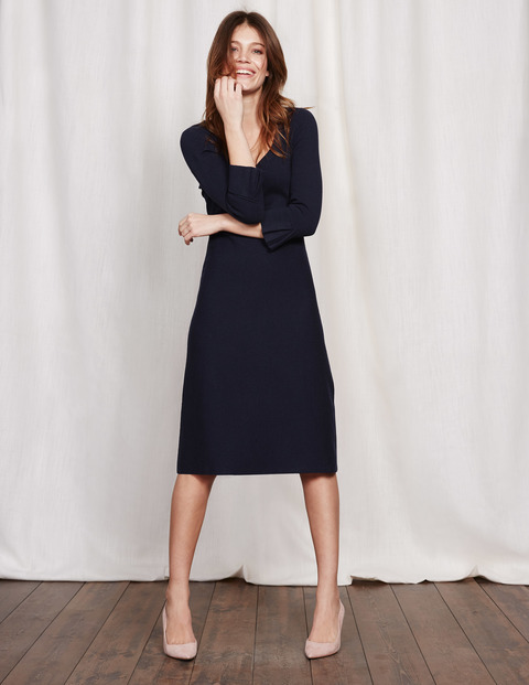 Juliette Knitted Dress Navy Women, Navy - style: jumper dress; length: below the knee; pattern: plain; sleeve style: volant; predominant colour: navy; fit: body skimming; neckline: scoop; fibres: cotton - mix; sleeve length: 3/4 length; texture group: knits/crochet; pattern type: knitted - fine stitch; occasions: creative work; wardrobe: investment; season: a/w 2016