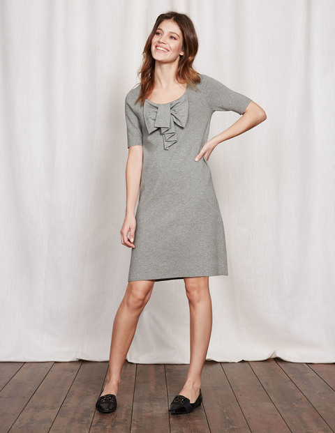 Bow Knitted Dress Grey Melange Women, Grey Melange - style: shift; pattern: plain; predominant colour: mid grey; occasions: casual, creative work; length: just above the knee; fit: soft a-line; neckline: scoop; fibres: cotton - mix; sleeve length: half sleeve; sleeve style: standard; texture group: knits/crochet; pattern type: knitted - fine stitch; embellishment: bow; season: a/w 2016; wardrobe: highlight; embellishment location: bust