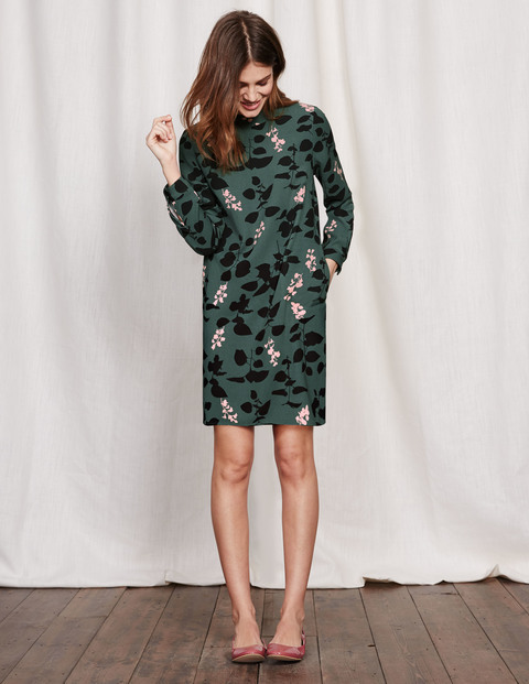 High Neck Dress Green Leaf Silhouette Women, Green Leaf Silhouette - style: shift; length: mid thigh; neckline: high neck; predominant colour: dark green; secondary colour: black; occasions: casual, creative work; fit: straight cut; fibres: polyester/polyamide - 100%; sleeve length: long sleeve; sleeve style: standard; texture group: crepes; pattern type: fabric; pattern size: standard; pattern: florals; multicoloured: multicoloured; season: a/w 2016; wardrobe: highlight