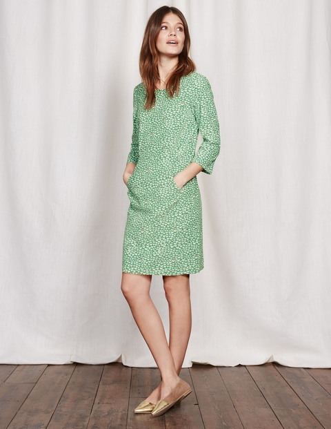 Hannah Seam Detail Dress Green Geo Bird Women, Green Geo Bird - style: shift; predominant colour: pistachio; occasions: evening; length: just above the knee; fit: body skimming; fibres: cotton - stretch; neckline: crew; sleeve length: 3/4 length; sleeve style: standard; texture group: lace; pattern type: fabric; pattern: patterned/print; season: a/w 2016; wardrobe: event