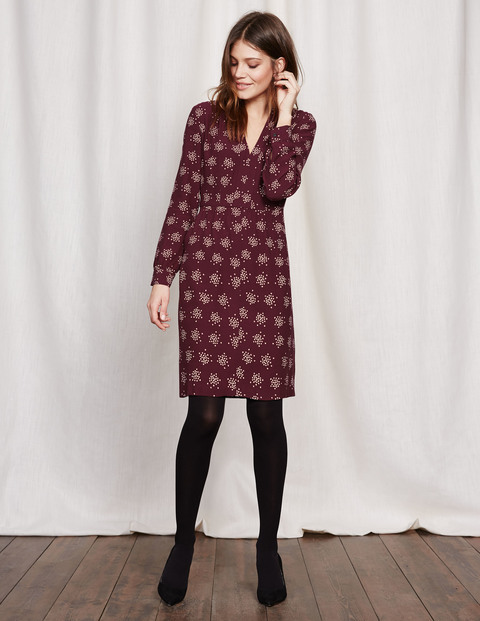 Carla Dress Dark Burgundy Confetti Spot Women, Dark Burgundy Confetti Spot - style: shift; neckline: v-neck; secondary colour: ivory/cream; predominant colour: aubergine; occasions: casual, creative work; length: just above the knee; fit: body skimming; fibres: viscose/rayon - 100%; sleeve length: long sleeve; sleeve style: standard; pattern type: fabric; pattern: patterned/print; texture group: woven light midweight; multicoloured: multicoloured; season: a/w 2016; wardrobe: highlight