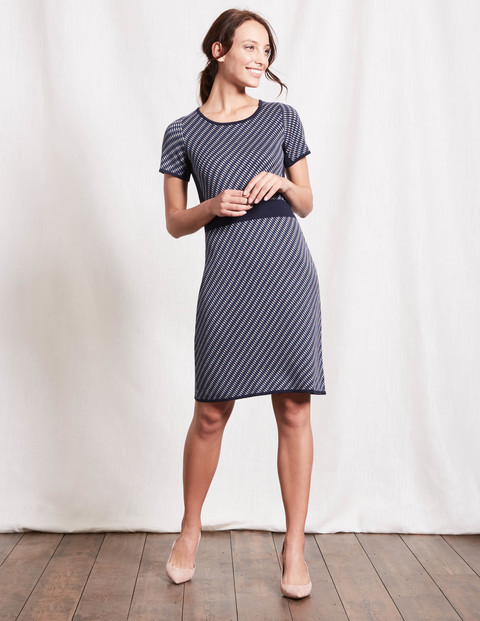 Zoe Knitted Dress Navy Jacquard Women, Navy Jacquard - style: t-shirt; neckline: round neck; pattern: striped; secondary colour: white; predominant colour: navy; occasions: casual, creative work; length: just above the knee; fit: body skimming; fibres: cotton - mix; sleeve length: short sleeve; sleeve style: standard; texture group: knits/crochet; pattern type: knitted - other; pattern size: standard; season: a/w 2016; wardrobe: highlight