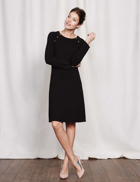 Camille Knitted Dress Black Women, Black - style: shift; pattern: plain; predominant colour: black; length: just above the knee; fit: body skimming; fibres: cotton - mix; neckline: crew; sleeve length: long sleeve; sleeve style: standard; texture group: knits/crochet; pattern type: knitted - fine stitch; occasions: creative work; wardrobe: investment; season: a/w 2016